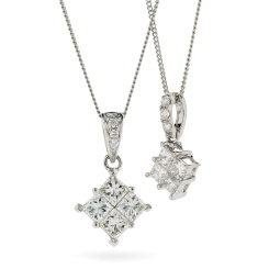 HPRDR131 Princess Cluster Diamond Pendant - white