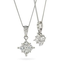 HPRDR131 Princess Cluster Diamond Pendant - white