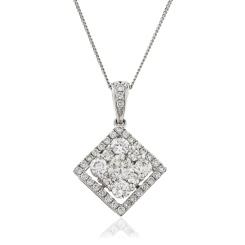 HPRDR132 Princess shaped Round cut Halo & Cluster Diamond Pendant - white