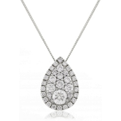 HPRDR133 Tear Drop Round cut Halo & Cluster Diamond Pendant - white