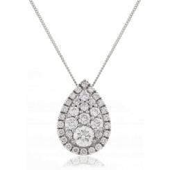 HPRDR133 Tear Drop Round cut Halo & Cluster Diamond Pendant - white