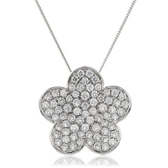 HPRDR134 Round cut Flower Cluster Diamond Pendant - white