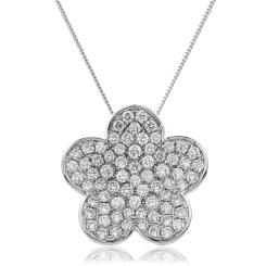 HPRDR134 Round cut Flower Cluster Diamond Pendant - white