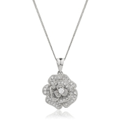 HPRDR136 Blooming Flower Round cut Designer Diamond Pendant - white