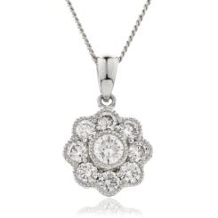 HPRDR138 Round cut Designer Diamond Pendant - white