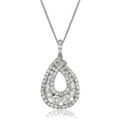 HPRDR141 Round cut Designer Diamond Pendant - white