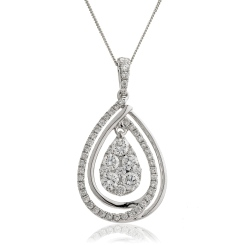 HPRDR142 Round cut Designer Diamond Pendant - white