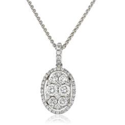 HPRDR143 Round cut Designer Diamond Pendant - white