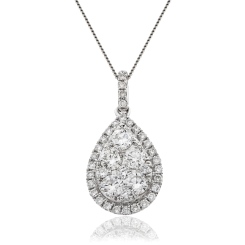 HPRDR144 Round cut Designer Diamond Pendant - white