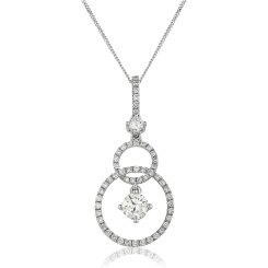 HPRDR156 Round cut Designer Diamond Pendant - white