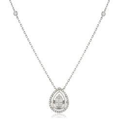HPRDR163 Round cut Designer Diamond Pendant - white