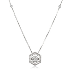 HPRDR164 Round cut Hexagon Shaped Fixed Chain Halo Diamond Pendant - white