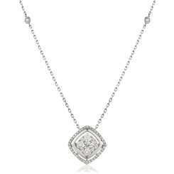 HPRDR165 Round cut Cushion Shaped Fixed Chain Halo Diamond Pendant - white