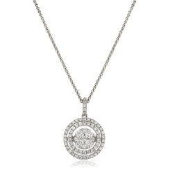 HPRDR166 Double Halo Round cut Cluster Diamond Pendant - white