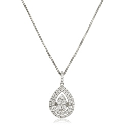 HPRDR167 Pear Shaped Double Halo Round cut Cluster Diamond Pendant - white