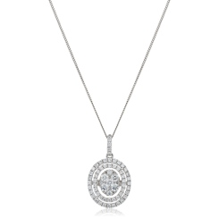 HPRDR168 Oval Double Halo Round cut Cluster Diamond Pendant - white