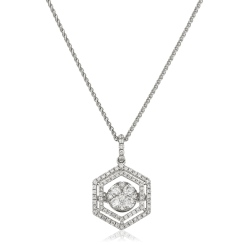 HPRDR171 Hexagon Double Halo Round cut Cluster Diamond Pendant - white