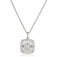 HPRDR172 Cushion Double Halo Round cut Cluster Diamond Pendant - white