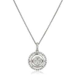 HPRDR173 Double Halo Round cut Cluster Diamond Pendant - white