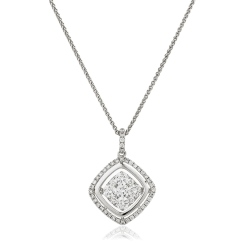 HPRDR178 Round cut Cushion Shaped Halo Diamond Cluster Pendant - white