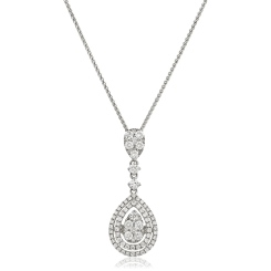 HPRDR180 Pear Shaped Round cut Drop Diamond Necklace - white