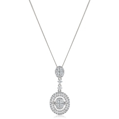 HPRDR181 Oval Round cut Diamond Drop Necklace - white