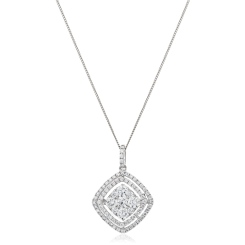HPRDR182 Cushion Double Halo Round cut Diamond Drop Necklace - white