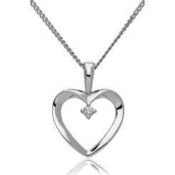 HPRDR194 Round cut Diamond Delicate Heart Pendant - white