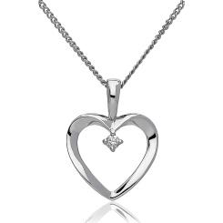 HPRDR194 Round cut Diamond Delicate Heart Pendant - white