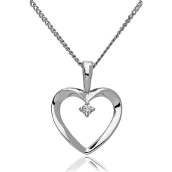 HPRDR1952 0.02CT VS/EF ROUND DIAMOND HEART PENDANT - white