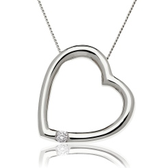 HPRDR197 Round cut Single Diamond Heart Pendant - white