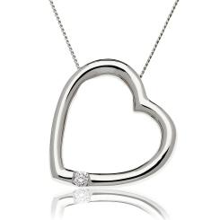 HPRDR197 Round cut Single Diamond Heart Pendant - white
