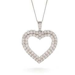 HPRDR199 Double Row Heart Round cut Diamond Pendant - white