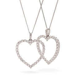HPRDR200 Classic Round cut Heart Diamond Pendant - white