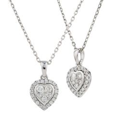 HPRDR2004 0.71CT VS/FG ROUND DIAMOND HEART SHAPED PENDANT - white