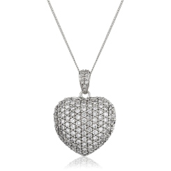 HPRDR201 Dazzling Round cut Micro Pave Heart Diamond Pendant - white