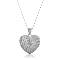 HPRDR203 Grain set Round cut Diamonds Heart Pendant - white