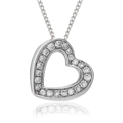 HPRDR204 Delicate Channel set Round cut Diamonds Heart Pendant - white