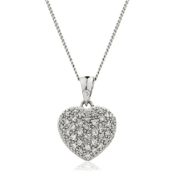 HPRDR206 Round cut Grain set Diamonds Heart Pendant - white