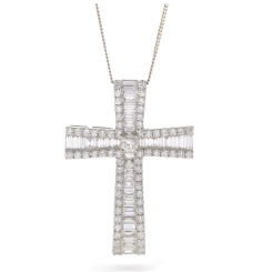 HPRDR209 Baguette & Round cut Graduating Cross Diamond Pendant - white