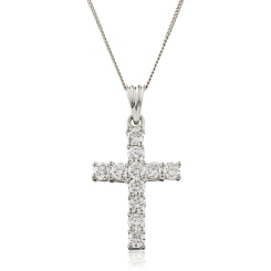 HPRDR210 Classic Round cut Diamond Cross Pendant - white