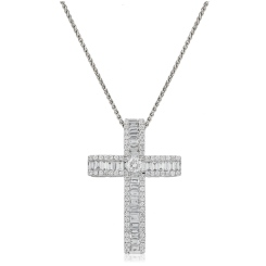 HPRDR211 Baguette & Round cut Diamond Cross Pendant - white