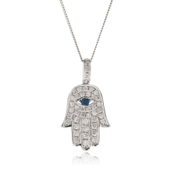 HPRGBS220 Star of David and Evil Eye Blue Sapphire Pendant - white