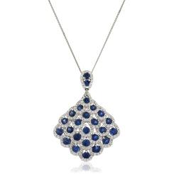 HPRGBS238 Designer Drop Blue Sapphire Pendant - white