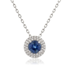 HPRGBS247 Round cut Blue Sapphire Double Halo Pendant Necklace - white