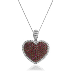 HPRGRY241 Fancy Heart Design Ruby Pendant - white
