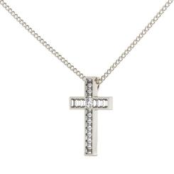 HPX23 Round Baguette Cross Diamond Pendant - white