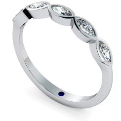 ARA Marquise cut 5 Stone Eternity Diamond Ring - white