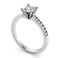 HRASD1162 Asscher Shoulder Diamond Ring - white