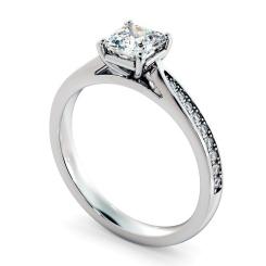 HRASD1164 Asscher Shoulder Diamond Ring - white